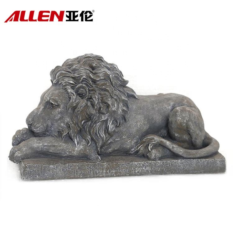 Fiberstone Смола Лежащий лев статуя для украшения сада