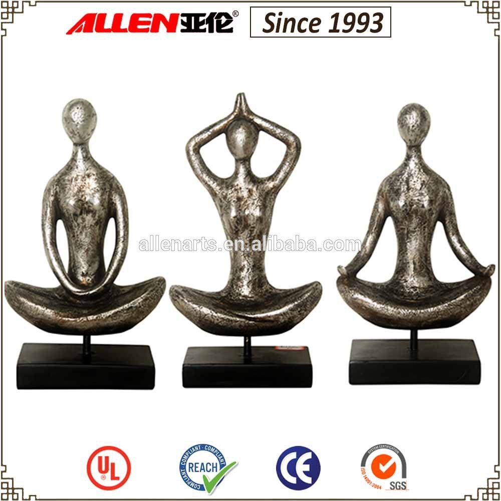 Resin Yoga Woman Statue Tabletop Decorative Figurine