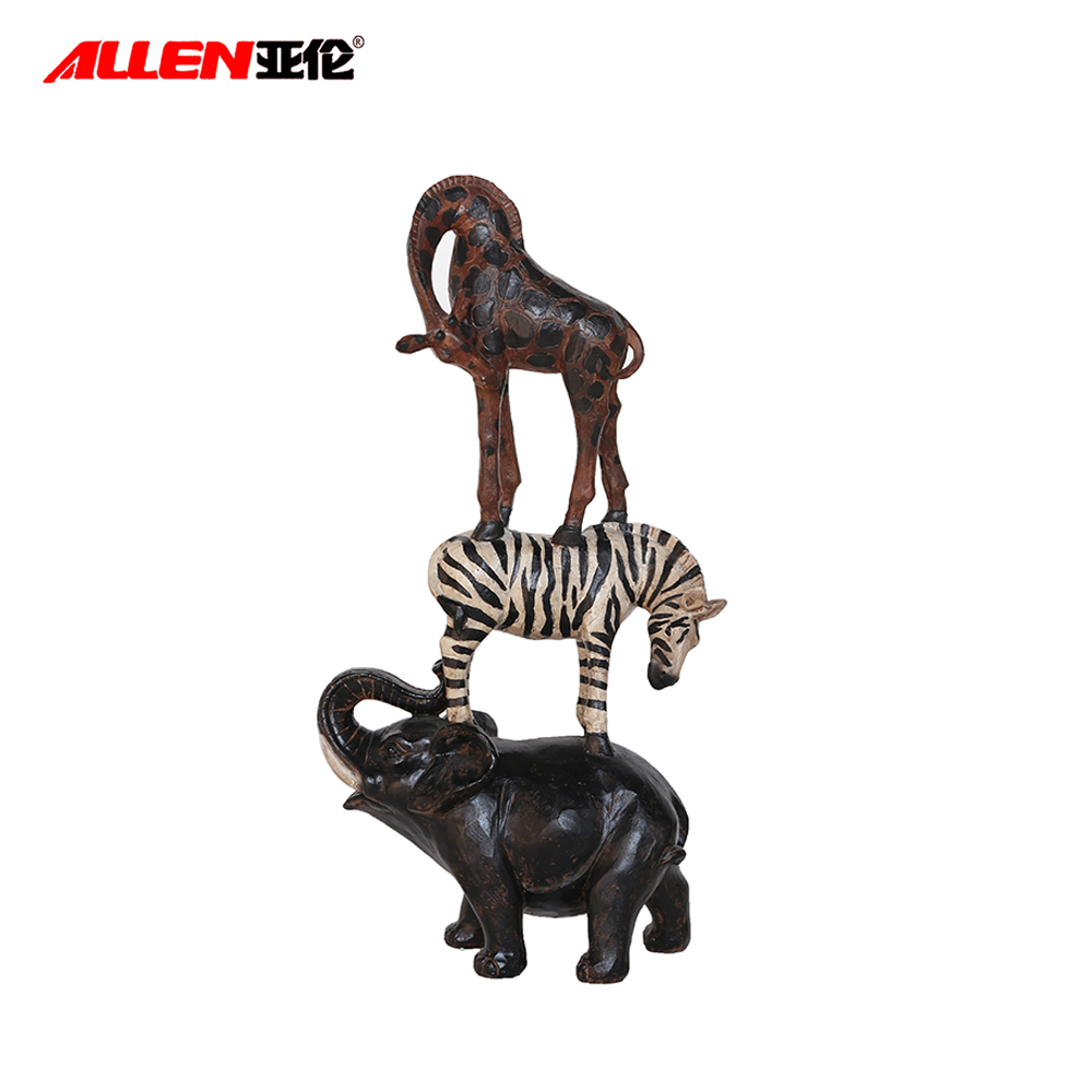 Resin Decorative Figurine Standing Elephant Zebra Giraffe Statues