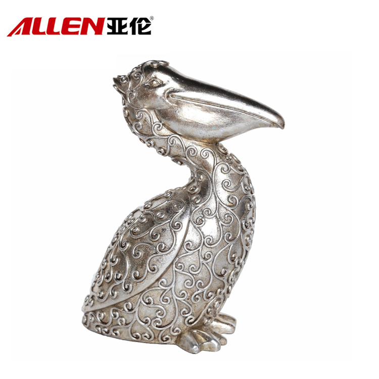 Fashion Home Decor Silver Polyresin Pelican Statues