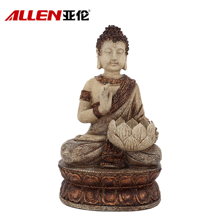 Home Decorative Figurine Polyresin Sitting Buddha Candle Holder