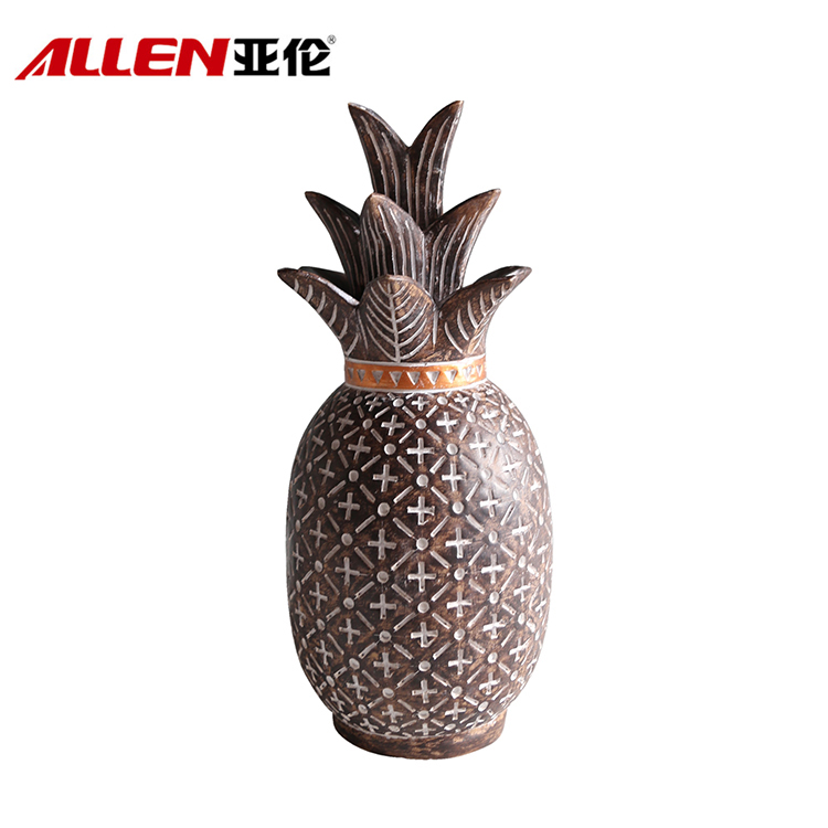 Custom Polyresin Pineapple With Africa Pattern For Home Decor