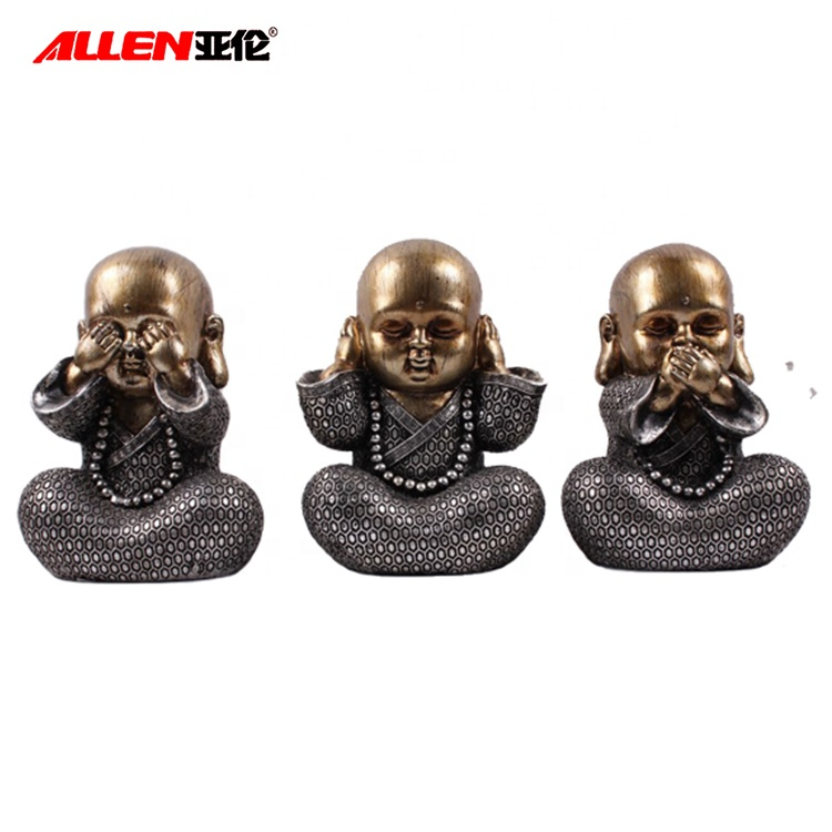 NO SEE NO LISTEN NO SPEAK Resin Baby Buddha Statue