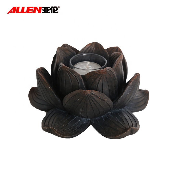 Unique Polyresin Lotus Flower Candle Holder For Home Decor