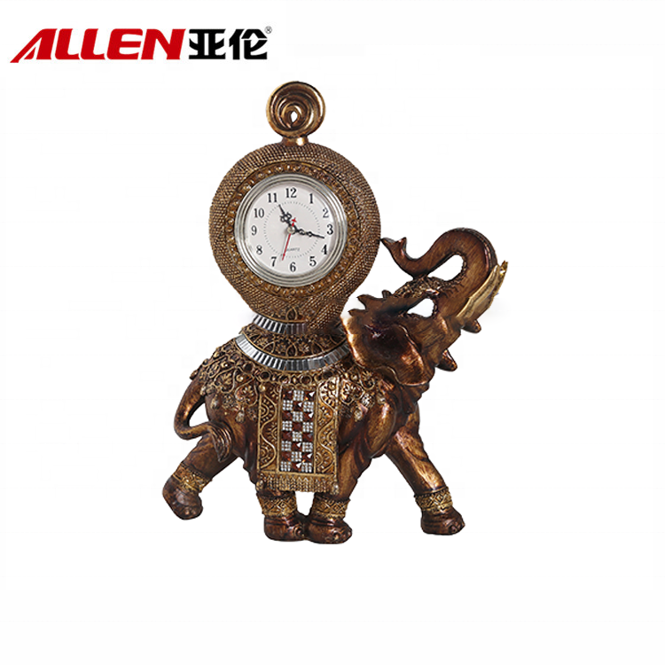 Professional Home Decoration Resin Elephant Clock Sculpture
