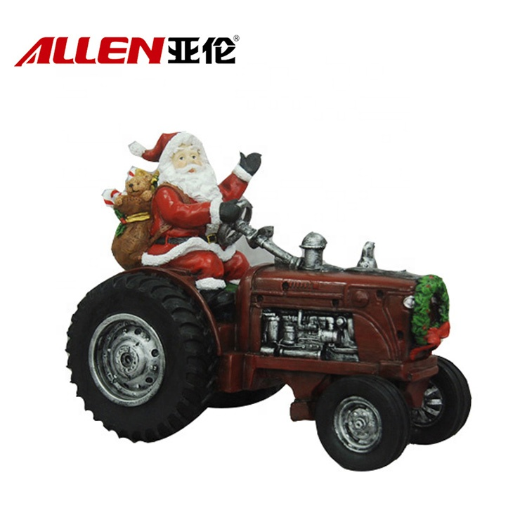 Christmas Decorations Resin Santa Claus Figurines On Truck
