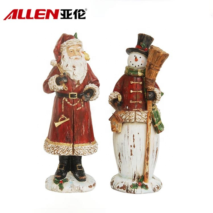 Wood Finish Christmas Handmade Resin Snowman Santa Figurines