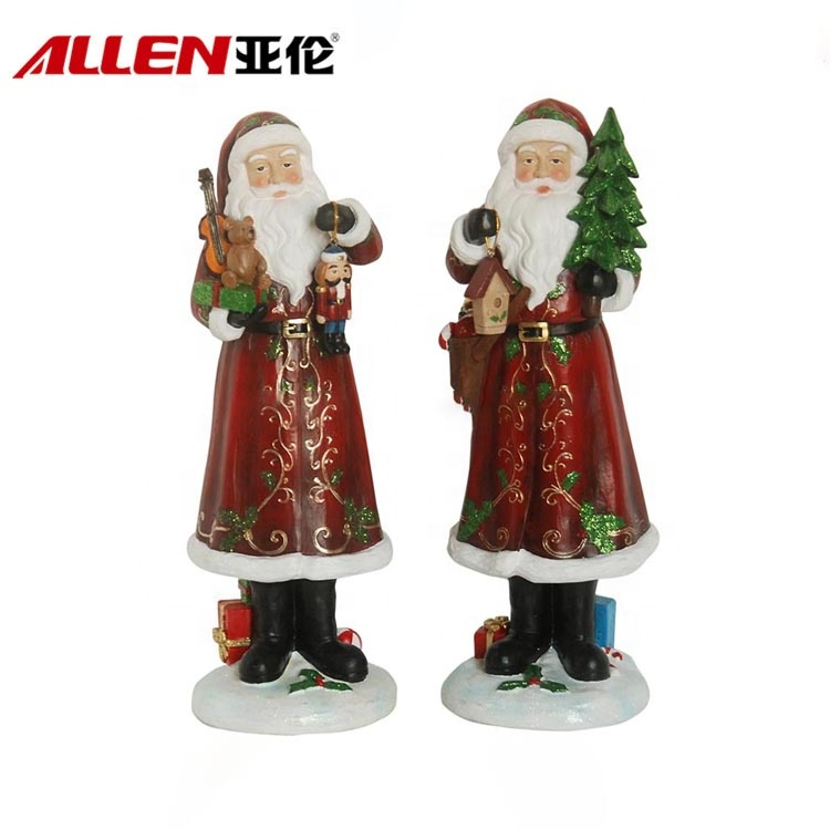 Resin Santa Holding Gift And Christmas Tree Figurines