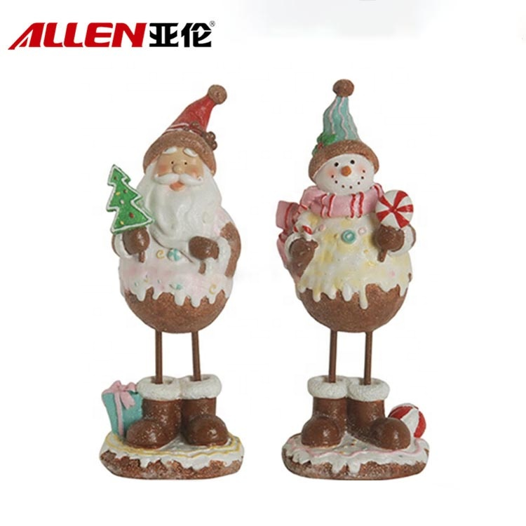 Resin Snowman Santa Claus Figurine For Indoor Christmas Decorations