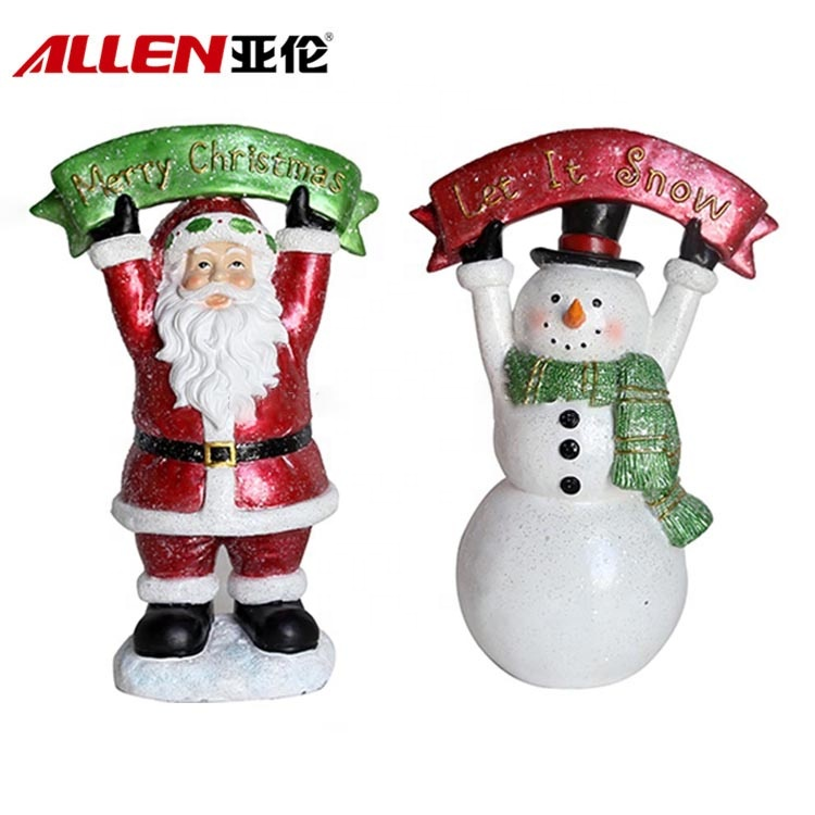 Resin Snowman And Santa Figurines With Merry Christmas Letter