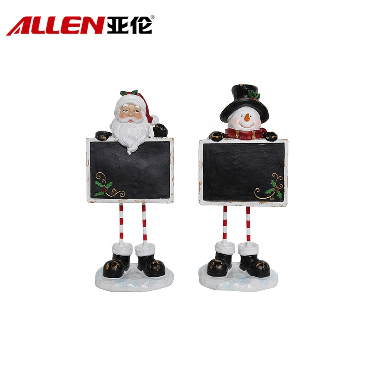Indoor Christmas Santa & Snowman Figurines With Chalkboard