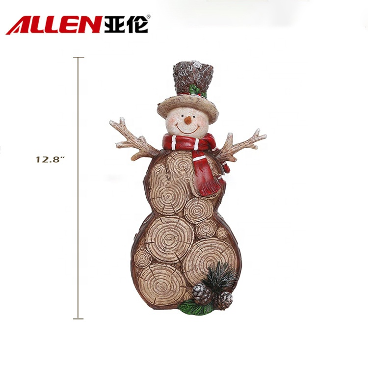 Wooden Style Christmas Decorations Resin Snowman Figurine