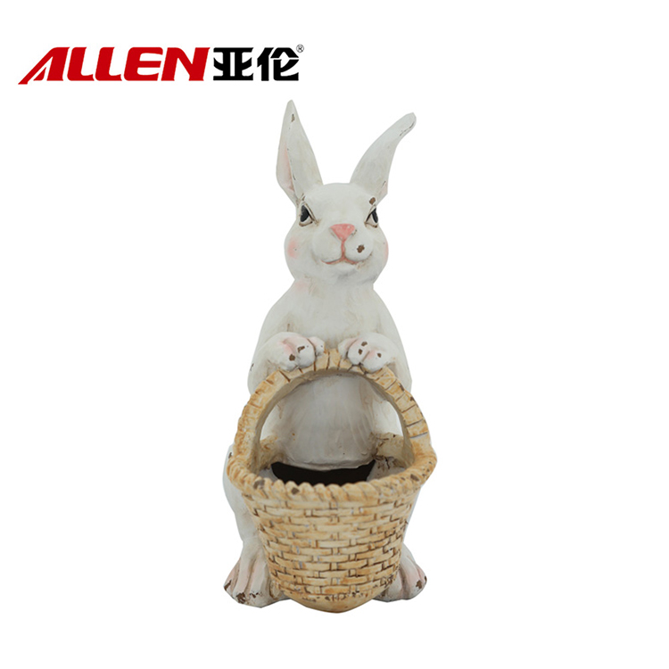 Lovely Resin Easter Rabbit Decor Sculpture With Basket