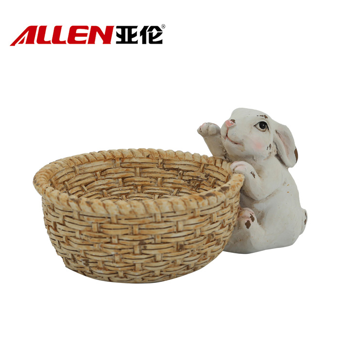 Cute Polyresin Bunny Resin Easter Statue With Bowl