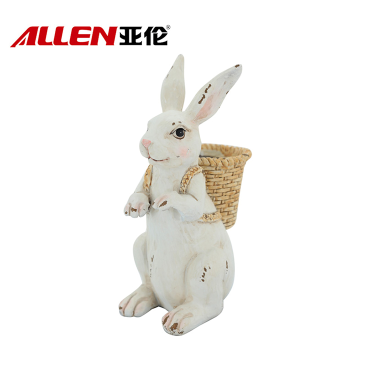 Resin Bunny Sculpture For Easter Home Decor
