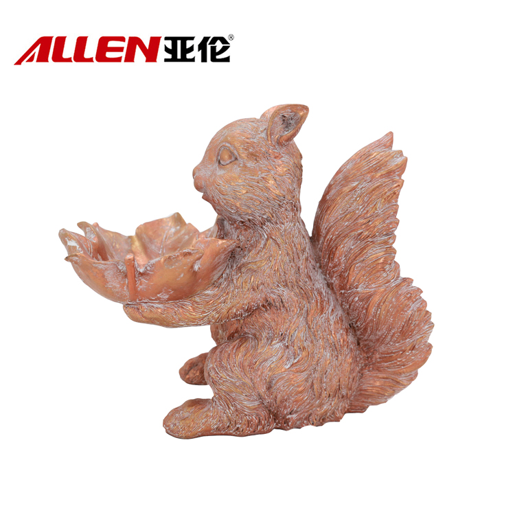 Thanksgiving Holding Candy Bowl Resin Squirrel Statue