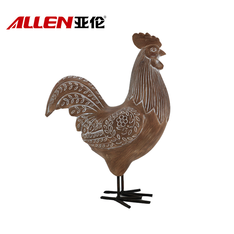 Thanksgiving Hjemmeinnredning Resin Chicken Statue Med Metal Feet
