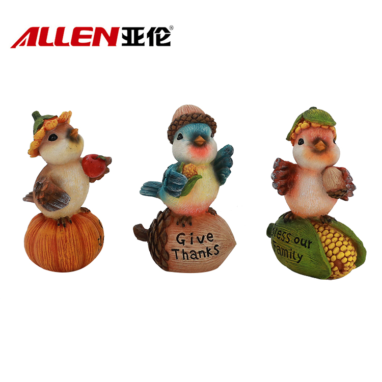 Cute Thanksgiving Animal Sculpture Resin Bird Figurines