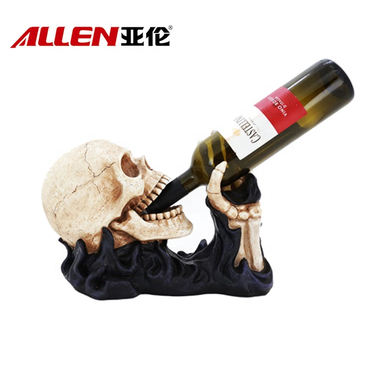 Resin Halloween Head Skull With Wine Holder Function