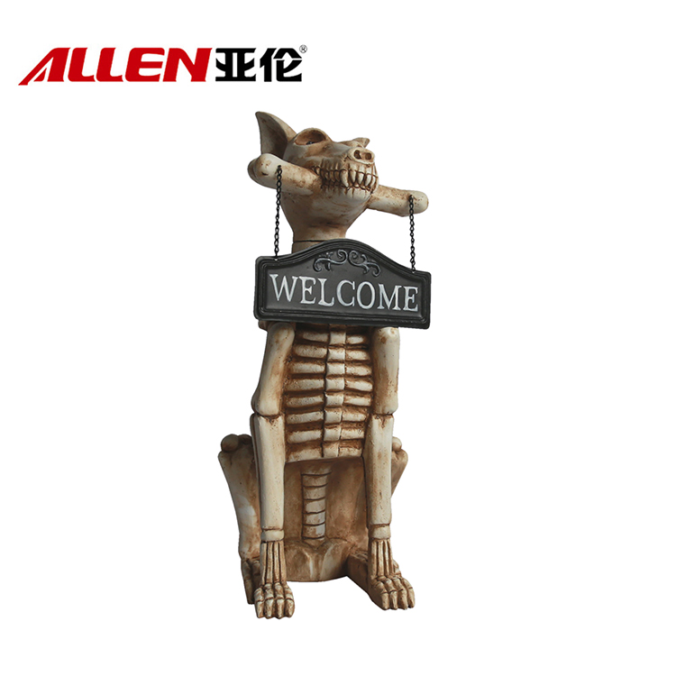 Halloween Decoration Dog Skull Sculpture With Welcome Sign