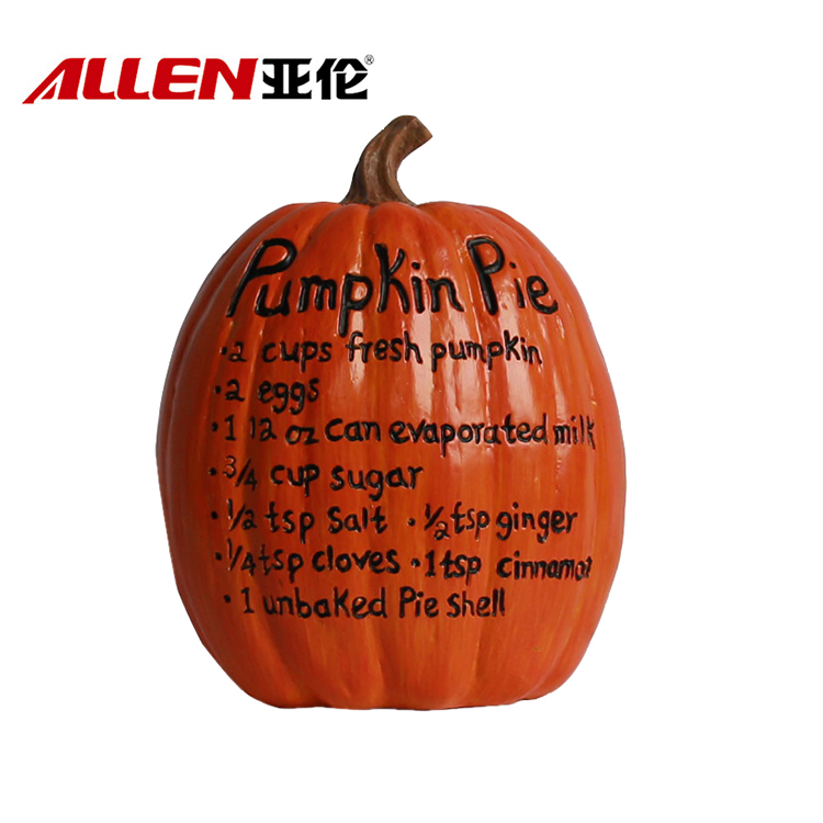 Thanksgiving Polyresin Pumpkin Decoration With Pumpkin Pie Menu