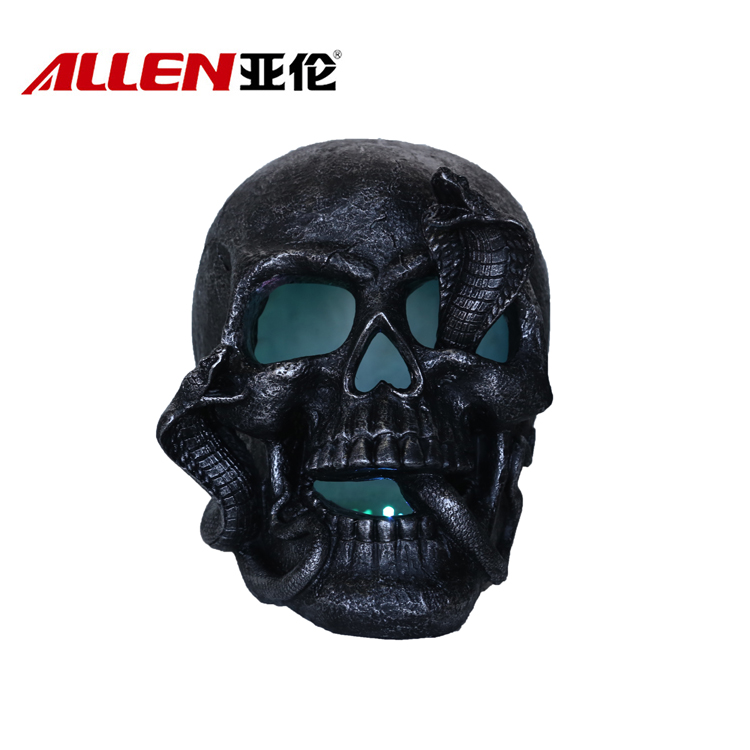 Resin Schedel Halloween sculptuur met slang en Led