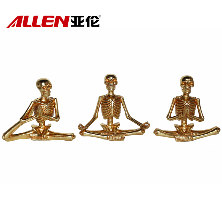 Halloween Playing Yoga Resin Hiasan Skull