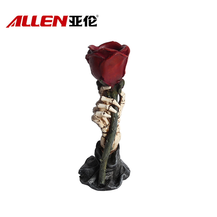 Resin Halloween Skeleton Hand Met Rose Candle Holder