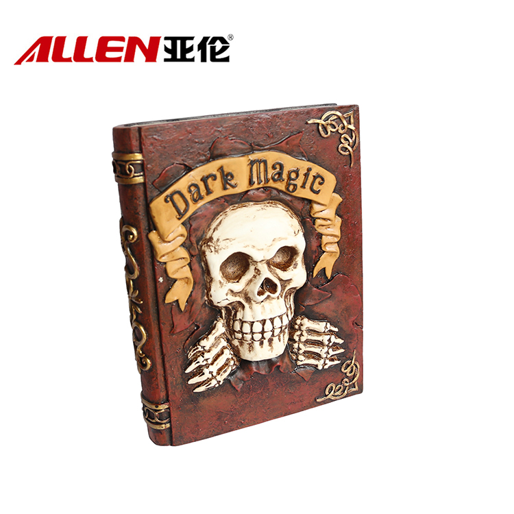 Halloween Home Decoration Polyresin Skull Book Sculpture