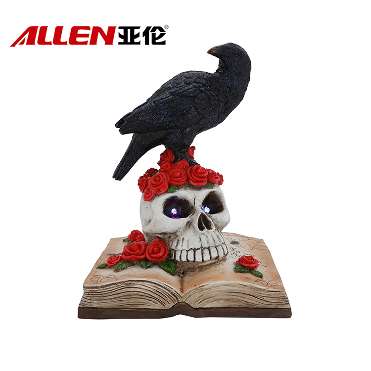 Halloween Decoration Resin Crow Statue On Skull Head And Book
