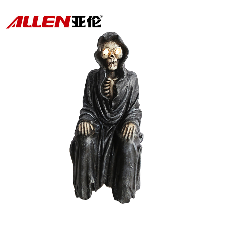 Halloween Decoration Skeleton Figurine With Led Solar