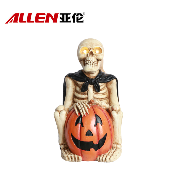 Halloween Skull Statue Holding Pumpkin With Light