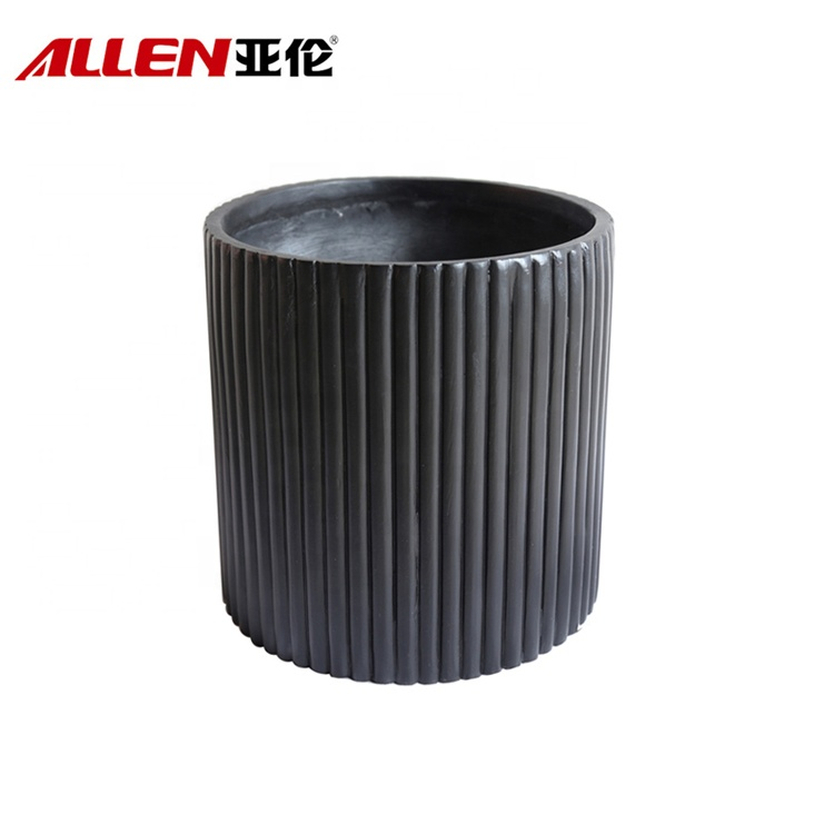 Line Pattern Finishing Outdoor Big Flower Pot For Decor