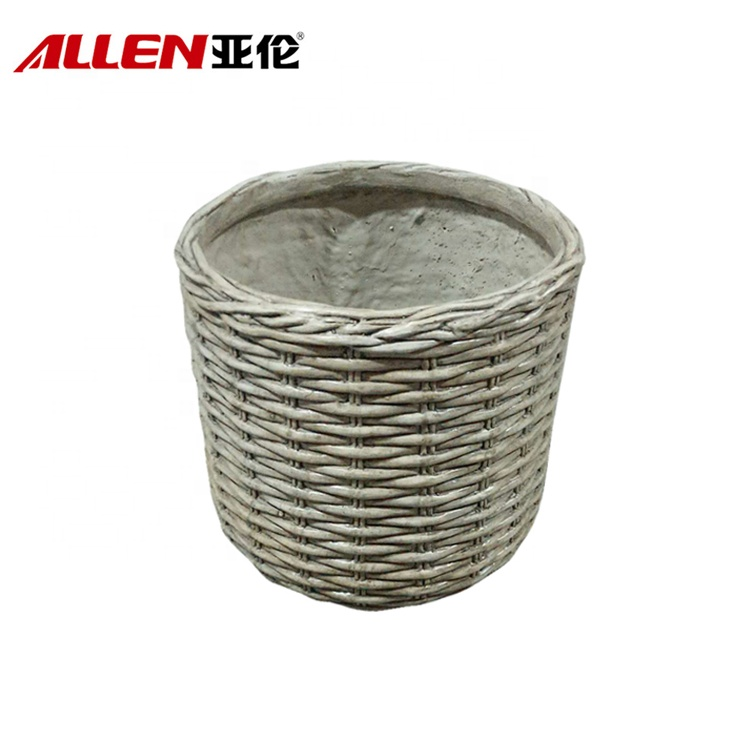 Fiberglass Rattan Finish Flower Planter Pot For Garden Decor