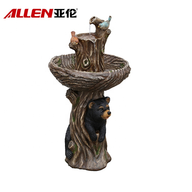 Bear och fågel Statue Design dekoration Animal Glasfiber Water Fountain