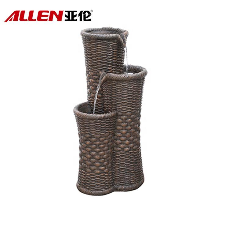 Bamboo Weave Basket Design Fiberglass Outdoor Garden Fountains