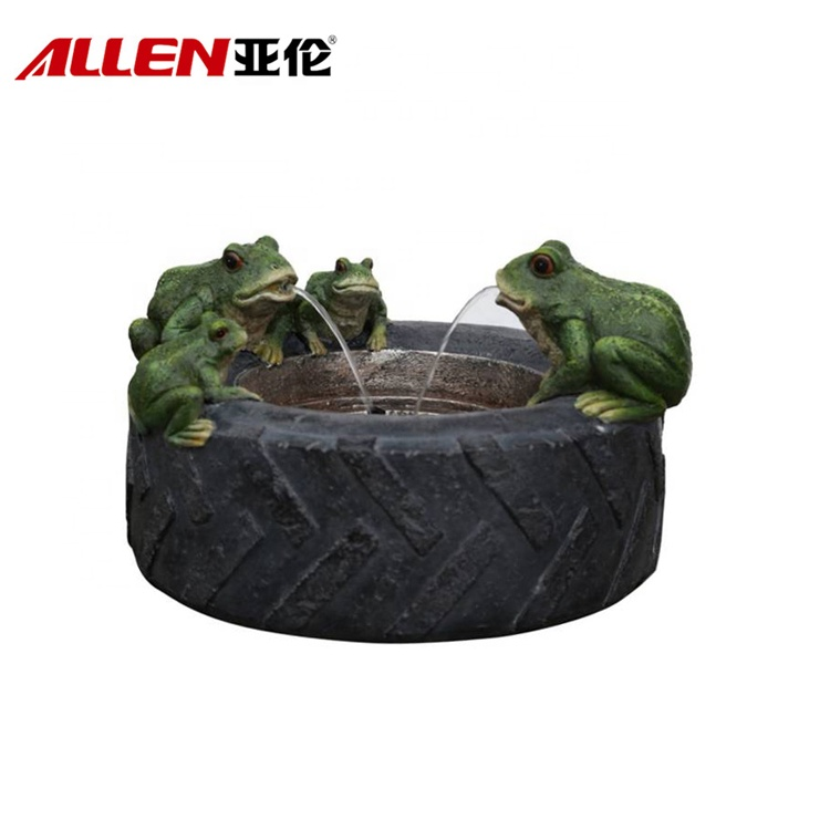 Frog On Tyre Shape Fiberglass Water Fountain