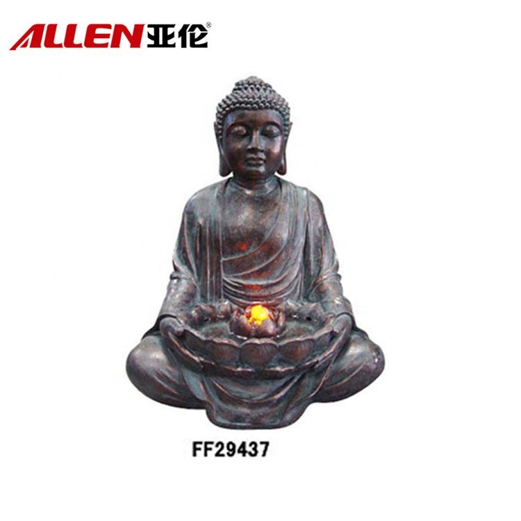 Bronze Finish Fiberglass Buddha Garden Fountain Com Luz