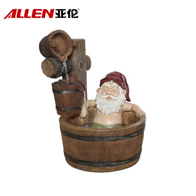 Glasfiber Outdoor Garden dekoration Gnome Water Fountain
