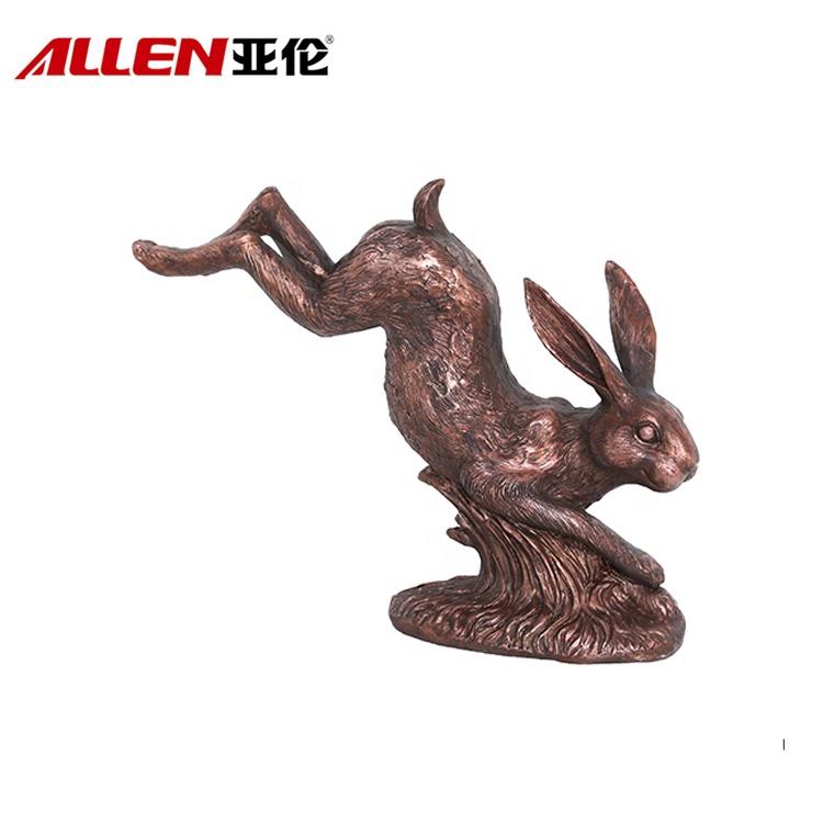 Медь Отделка Бронза Смола скульптуры животных Running Кролик