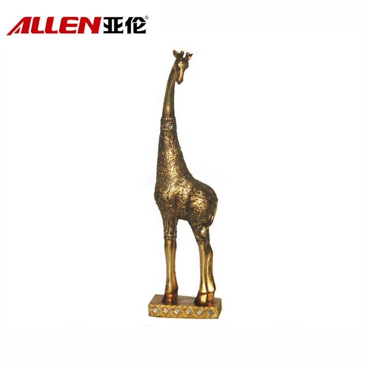 Home Table Top Decor Gold Brush Resin Giraffe Sculpture