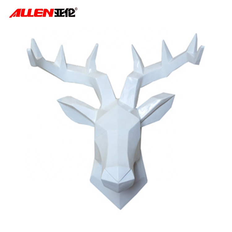 White Artificial Wild Life Wall Decor Resin Deer Head