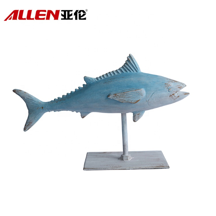 Resin Blue Fish Sculpture With Stand Home Tabletop