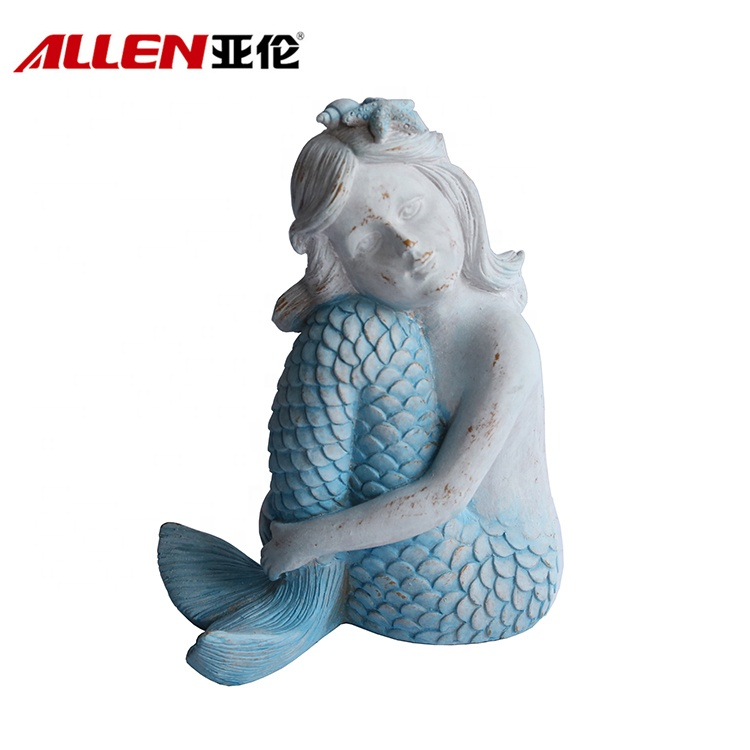 Handmade Coastal Style Mermaid Figurine For Decor
