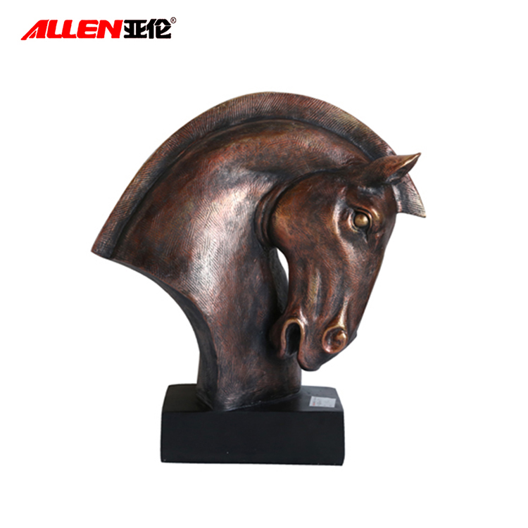 Polyresin Animal Sculpture, Bronze Horse Head Sculpture