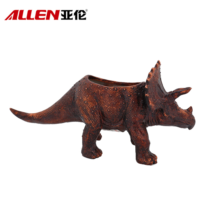 Personalized Handmade 12.2inch Polyresin Triceratops Planter