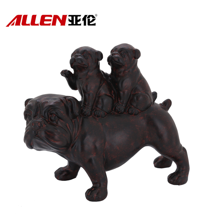 Lifelike Polyresin Dog Mum & Baby Sculpture