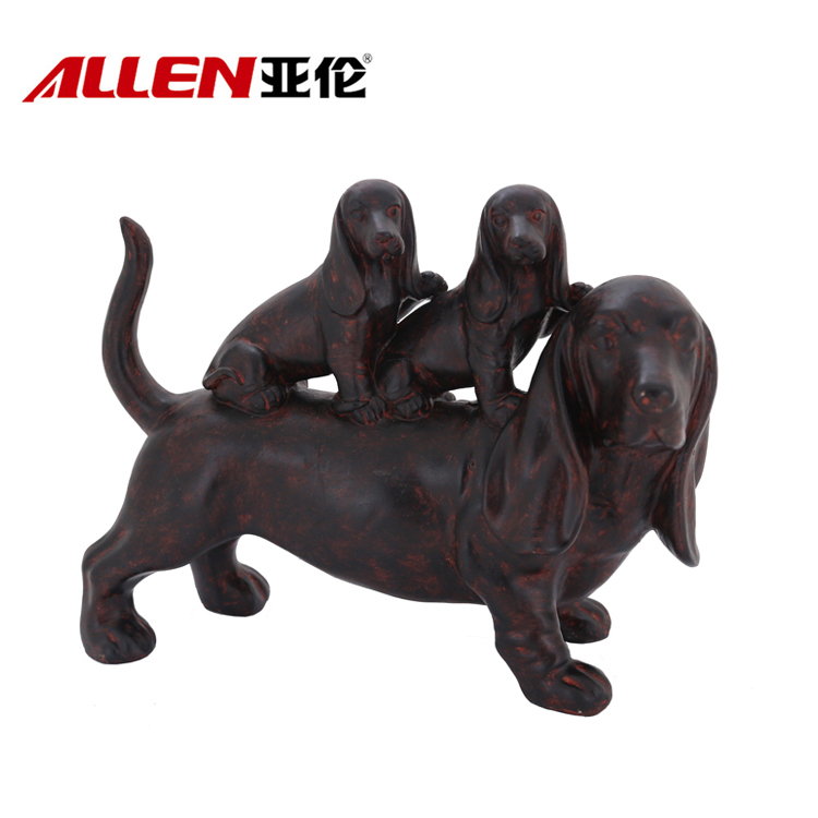 Home Decoration Dogs Family Sculpture Life Size Resin Dog