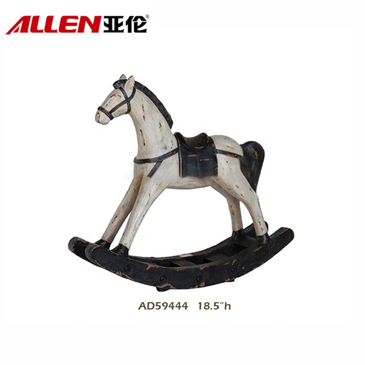 Antique White Rocking Resin Horse Statue For Home Decoration