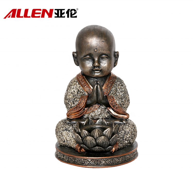 Home Decor Resin Monk Buddha Statue With Lotus Candle Holder